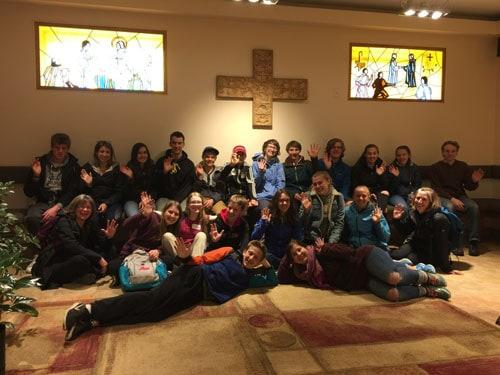 Young volunteers in the Good Shepherd Centre chapel.