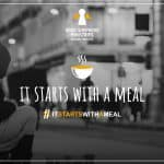 Image of a homeless individual on a busy city street with the words IT STARTS WITH A MEAL and Good Shepherd Ministries' angel logo.